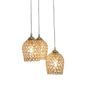Pendente Dourado de Cristal K5 c/3 Lâmpada 17x13 CA13