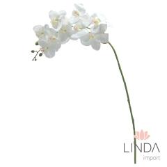 Haste de Orquidea Branca Siliconada C/9 Flores CS03