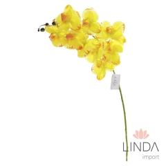 Haste de Orquidea Amarela Siliconada C/9 Flores CS07