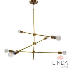 Lustre Industrial Moderno Dourado C/6 CJ19