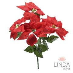 Flor Artificial Bico de Papagaio Natal Vermelha C/5 GalhosEH21