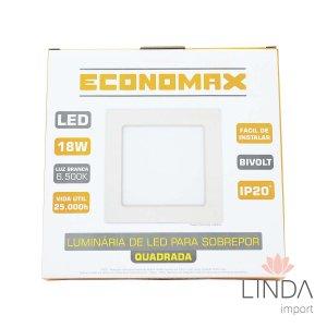 Luminária Led de Sobrepor QD 18W 6500K ECONOMAX FT07