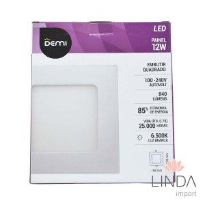 Luminaria Painel Led 100-240V Embutir 170 Quadrado 12W 6500K FS06