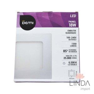 Luminaria Painel Led 100-240V Embutir 220 Quadrado 18W 6500K FS07