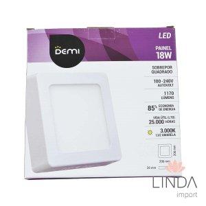 Luminaria Painel Led 100-240V Sobrepor 220 Quadrado 18W 3000k FS10