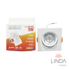 Spot SMD Led 100-240V Foco Dirigível  5W 6500K Branco FS15