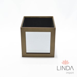Cachepô Quadrado de Madeira C/ Espelho 15X15 FV15