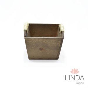 Cachepô de Madeira C/ Corda 15x14x10 GC21