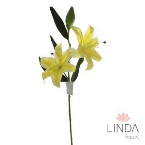 Haste de Lirio Amarela Siliconada C\2 Flores Er07