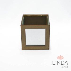 Cachepo Quadrado de Madeira C\ Espelho 12X12 FV14 - 402