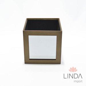 Cachepo Quadrado de Madeira C\ Espelho 15X15 FV15 - 403